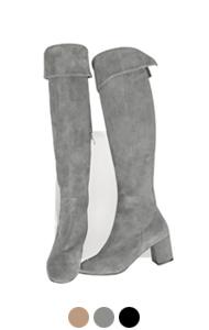 """back-slit suede thigh high boots <br> (3 colors) <br> <font color=#82C7E4 size=""""1.9"""" face=verdana>COLOR ADD</font>"""