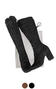 """lace-up suede boots <br> (2 colors) <br> <font color=#82C7E4 size=""""1.9"""" face=verdana>COLOR ADD</font>"""