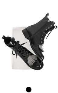 metallic tassel lace-up boots