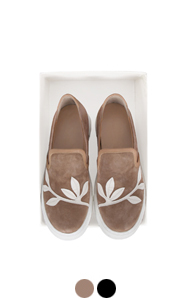 suede applique slipon