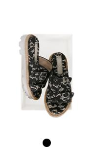 lace double buckle sandals
