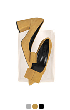 """square bow block heel pumps <br> <font color=#82C7E4 size=""""1.9"""" face=verdana>COLOR ADD</font>"""
