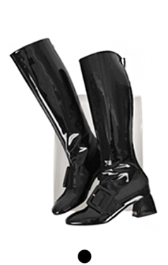 buckled patent boots