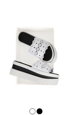 [GOOD PRICE] <br> eyelet embroidered platform sandals