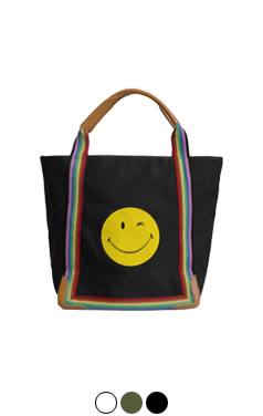 "smiley rainbow tote bag <br> <font color=#ff9999 size=""1.9"" face=verdana>BEST BUY</font>"