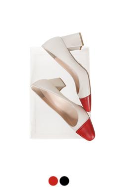 chunky heel cap-toe pumps