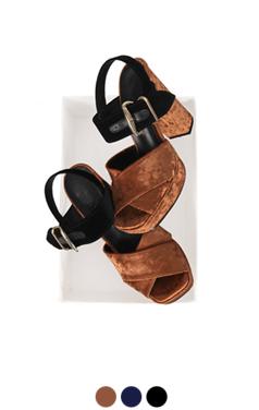 velvet duo platform sandals