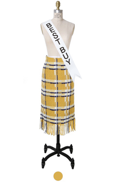 scottish check wool skirt
