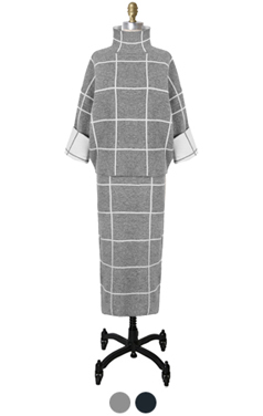 windowpane check knitted 2pcs