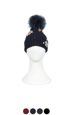 flower patched beanie