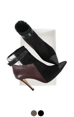 """patchwork cap-toe ankle boots <br> <font color=#ff9999 size=""""1.9"""" face=verdana>BEST BUY</font>"""
