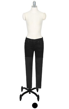 faux-leather patched black skinny