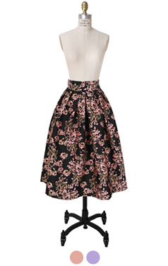 floral brocade full skirt