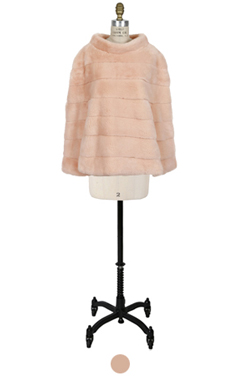 """luxe cropped mink cape <br> <font color=#82C7E4 size=""""1.9"""" face=verdana>RESTORE</font>"""