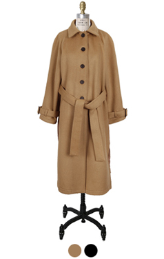 pleated-back wool trench
