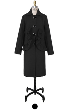 "ruffle pocket coat <br> <font color=#82C7E4 size=""1.9"" face=verdana>RESTORE</font>"