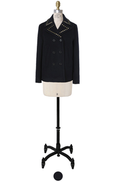 slim-fit studded peacoat