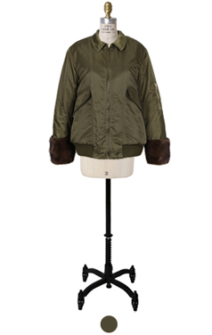 mink cuff MA-1 padded jacket