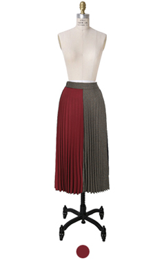 tri-color pleated skirt