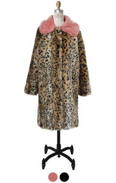 color collar faux-leopard coat