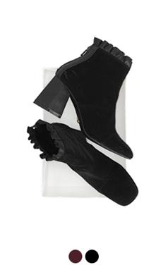 frilled velvet ankle boots