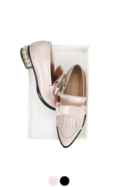pearly heel bow tassle loafer