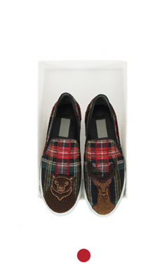 animal applique tartan slipon