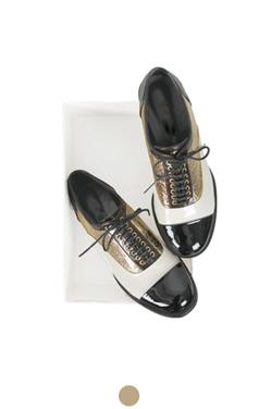 gold foil oxford shoes