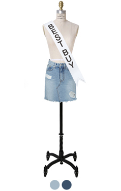 step-up denim mini skirt