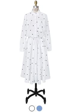 "heart embroidery shirt-dress <br> <font color=#82C7E4 size=""1.9"" face=verdana>COLOR ADD</font>"