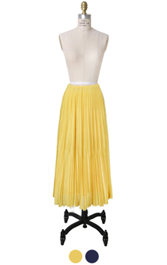 spring pleated maxi skirt