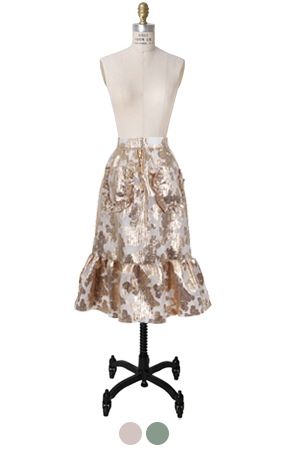 metalic floral brocade skirt