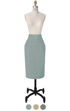 slim-fit check midi skirt