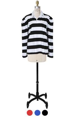 over shoulder striped top