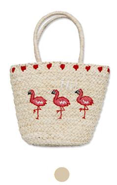 flamingo embroidery raffia bag
