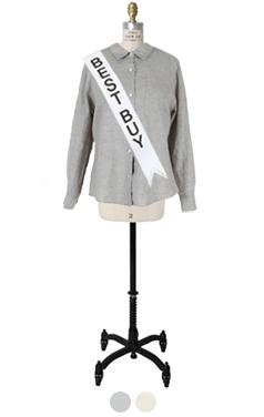 """Back-slit linen shirt <br> <font color=#ff9999 size=""""1.9"""" face=verdana>BEST BUY</font>"""