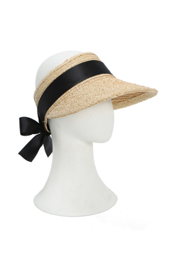 Ribbon back raffia suncap