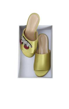 Jeweled cherry satin slipper