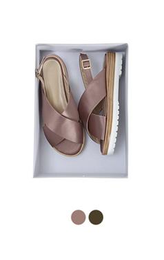 Satin crossband sandals